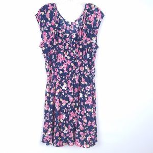 LAUREN CONRAD Navy Pink Pleated Babydoll Dress EUC